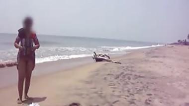 Desi wifey On Beach - Canging Lower Dress