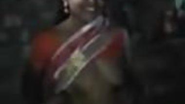 Satin Silk Saree maid showing boobs