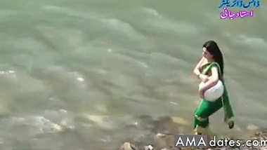 Desi girl in transparent wet saree showing boobs..hot show