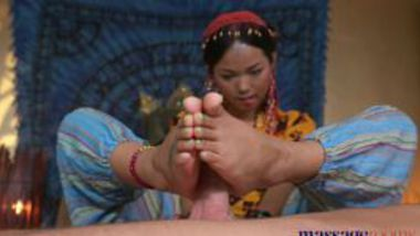 Nepali girl giving a footjob and blowjob to her client