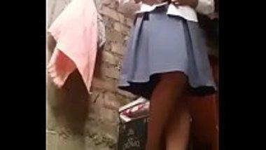 Desi teen girl stripping her school uniform