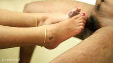 Desi Indian wife Annie footjob