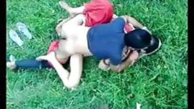 Indian MILF on green grass in outdoor sex