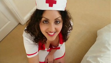 British Nurse collects patient sperm sample but ends up swallowing it deepthroat POV Indian